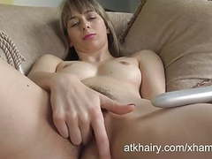 Destine fills her hairy pussy with a toy. movies at freekilosex.com