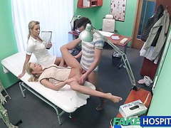 Fakehospital nurse watches as sexy couple fuck tubes