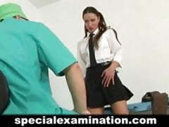 Young brunette passes medical examination videos