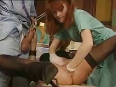 Redhead doctor gives gyno exam with her fist videos