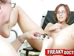 Skinny girlie jane wears glasses in gyno exam room videos