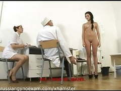 A cute russian brunette with small tits on gyno exam movies at find-best-pussy.com