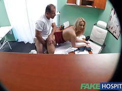 Fakehospital new nurse takes double cumshot from horny dr tubes