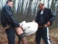 Dogging - mature wife fuck by 2 men's near the forest movies at adspics.com