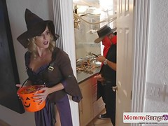 Busty stepmommy doggystyled in a costume videos