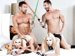 Daughterswap - hot babes stick light sabers in each others p videos