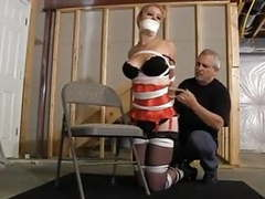 Krystina  hogtied in basement videos