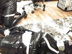 Rubberpet leather cuffed and hogtied videos