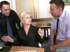 She pleases two dicks at job interview videos