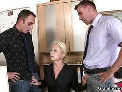 Granma sucks and fucks two cocks at job interview movies at find-best-ass.com