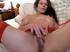 Wife with large pussy lips plays with clit, hubby fingers tubes
