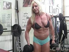 Female bodybuilder lacey works out and masturbates tubes