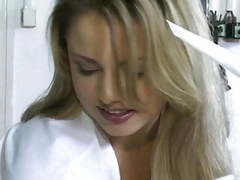 Gorgeous blonde nurse - old male patient treatment tubes