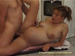 Pregnant houswife loves sex videos