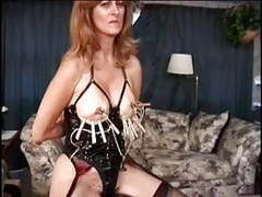 Mature w big tits has her nipples teased by her master tubes