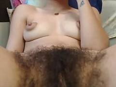 Hairy gal, puffy nips  fingering pussy movies at kilovideos.com