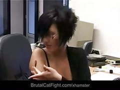 Office catfight between brunettes videos