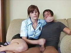 Female cop punishes innocent man wf tubes
