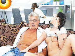 Daddy4k. middle-aged man has fun with son's unsatisfied girl tubes