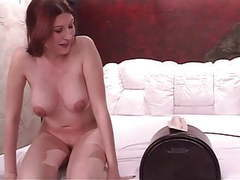 Busty horny redhead cums hard while riding the sybian movies at sgirls.net