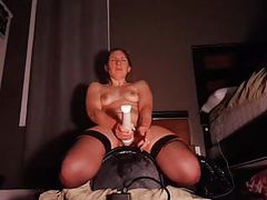 Amateur orgasms with sybian and wand tubes