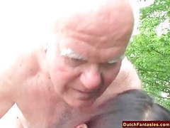 Old man fucks cheerleader outdoors tubes