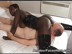 Black girl facesits an old guy tubes