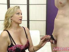 Milf julia ann makes slave cum on her stockings from footjob movies