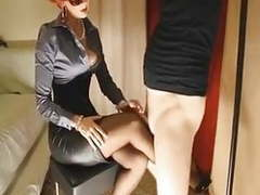 Mature redhead gives her slave slut a footjob movies at find-best-pussy.com