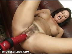 Brunette milf is fucked hard by a brutal dildo machine movies at kilosex.com