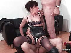 French mature hard sodomized and dp in 3way with papy voyeur movies at freekiloclips.com