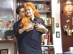 Naughty redhead granny satisfied by young guy tubes