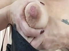 Mature with saggy tits showing her very huge nipples videos