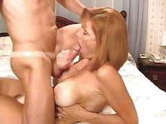 Cum in big titted matures mouth and tits tubes