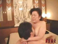 Japanese granny enjoying sex videos