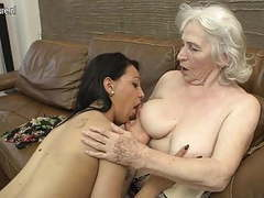 Hairy granny getting licked by young girl videos