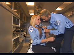Uniformed babe fucking in the back of an ambulance tubes