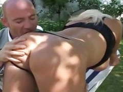 French blonde milf with big boobs fuck in garden videos