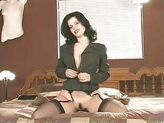 Office boss shows off her shaved pussy movies at freekiloclips.com