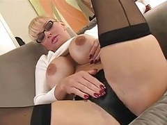 Blonde milf in sweater teases you movies at find-best-mature.com