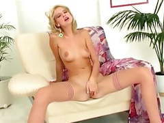 Petite blonde masturbates in stockings and heels movies at freekiloporn.com