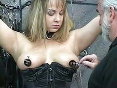 Bound bdsm whore gets nipples pinched and ass examined by old man movies at find-best-panties.com
