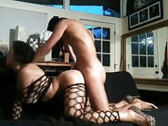Hot french arab babe in fishnets is fucked in the ass tubes