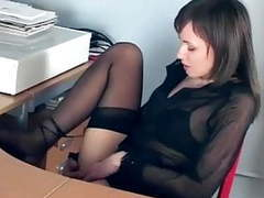 Office babe fingering in sheer stockings and heels movies at kilosex.com