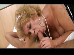 Hairy grandma wakes up young man for action videos