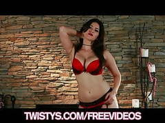 Stunning brunette sunny leone shows off her red lace panties movies at find-best-panties.com
