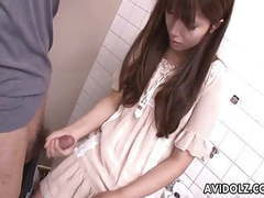 Asian teen jerking on the strangers cock in bathroom tubes at korean.sgirls.net