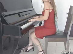 Red dress on sexy teenager videos