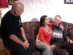 Horny latina pussy fucked by muscular stud while her husband watches with friend movies at find-best-videos.com