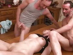 3 men fucking her on the kitchen table ((fyff)) movies